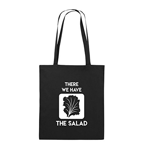 Comedy Bags - There WE Have The Salad - Jutebeutel - Lange Henkel - 38x42cm - Farbe: Schwarz/Weiss