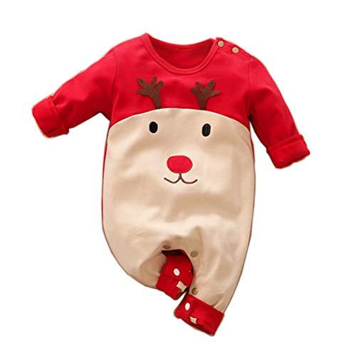 YEMOCILE Weihnachten Kostüm Baby Jungen Mädchen Strampler Outfit Set Weihnachtsmann Santa Elk Baby Christmas Kostüm Unisex Neugeborene Overall Kleidung