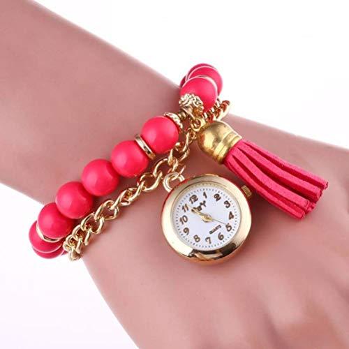 Unisex Analog Quarzuhr Dekorative Uhr Geschenkuhren Dekorative Uhr Metall Quaste Anhänger Lässige Uhr Männer und Frauen Perlenkette Analog Quarzuhr, Bernice Funk, Rose rot