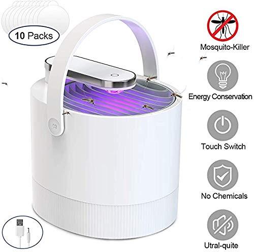 Uvistare Moskito Killer - Trampa para mosquitos, mosquitos, mosquitos, eléctrica, LED UV, carga USB, silenciosa y de bajo consumo, no emite radiación, ideal para interior
