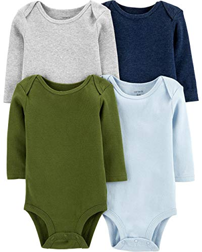 Carter's Baby 4 Pack Long Sleeve Bodysuit Set, Boys Solid, 6 Months Carters Boys Five Pack