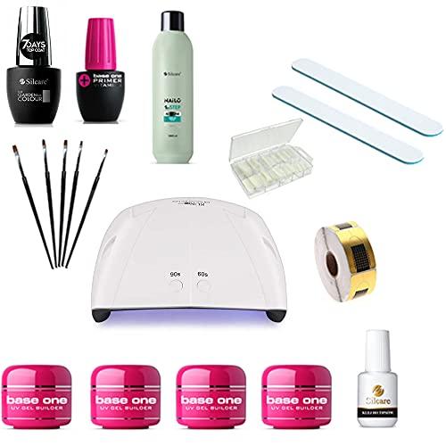 Kit Ricostruzione Unghie Gel Completo, Polygel Kit Professionale con Lampada UV Unghie, Gel Silcare, Pennelli, Lime, Cartine e Accessori