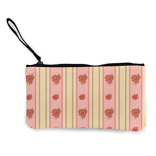 Wrution Vintage Rosen- und Streifen-Muster für Tapeten, personalisierbare Leinen, Münzbörse, Tasche, Reißverschluss, kleine Geldbörse, weiblich, tragbar, große Kapazität