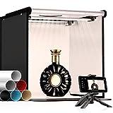 SAMTIAN Tenda Studio Light Box Kit 40 * 40 * 40cm Box Fotografico LED Bi Colore 3200-5600K Dimmerabile Set Fotografico Portatile Con Treppiede e 6x Sfondo (Nero/Bianco/Blu/Beige/Grigio/Rosso)