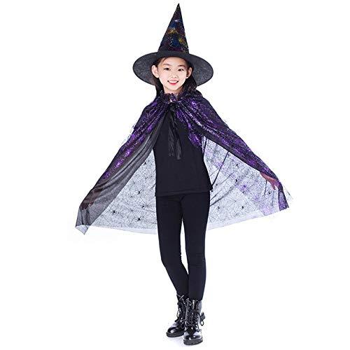 Peanutaso Nuevo Oro Rojo Púrpura Niños Feliz Halloween Mago Disfraz Conjunto Mago Bruja Capa Cape Robe Y Sombrero para Niño Niña Regalos