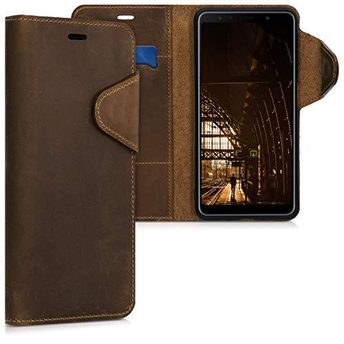 kalibri Hülle kompatibel mit Samsung Galaxy A7 (2018) - Leder Handyhülle Handy Hülle Cover - Schutzhülle in Braun