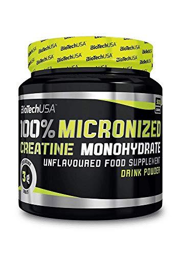Biotech USA 100% Monohydrate Creatina - Monohidrato de creatina en polvo, sin sabor, 500 gr