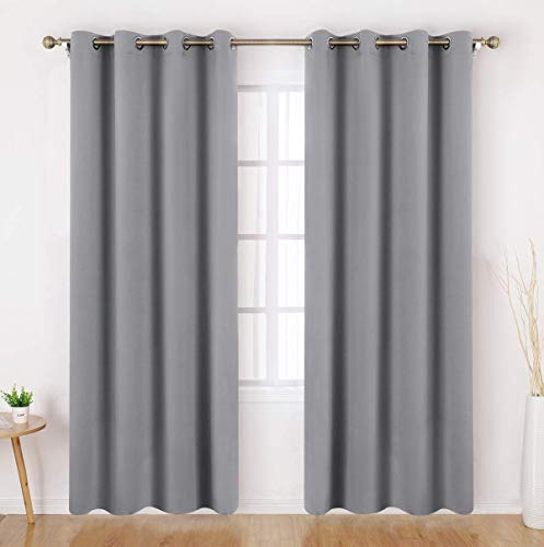 HOMEIDEAS Blackout Curtains 52 X 84 Inch Long Set of 2 Panels Light Grey/Gray Room Darkening Bedroom Curtains/Drapes, Thermal Grommet Light Bolcking Window Curtains for Living Room