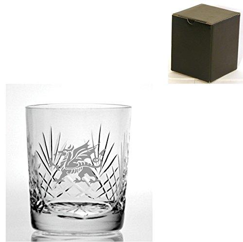 Cut Kristall, Whisky Glas mit walisischer Drachen Design–Geschenkbox inklusive