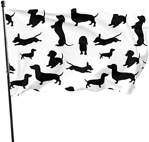 QiangQ Fahne Garden Flag Patry Flag Outdoor Flag Seasonal Black Dachshund Garden Flag Demonstration Flag 3 X 5 Ft