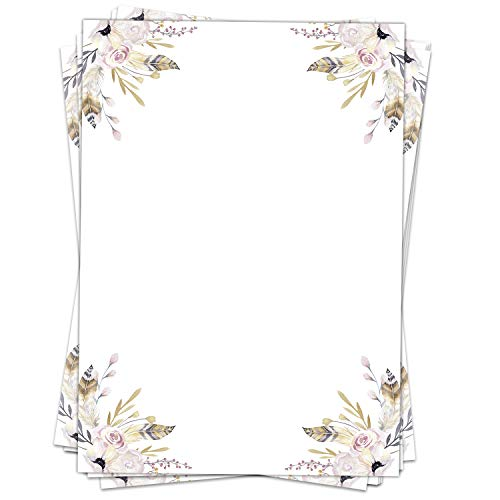 50 Blatt Briefpapier (A4) | Federn Pastell Aquarell Look | Motivpapier | edles Design Papier | beidseitig bedruckt | Bastelpapier | 90 g/m²