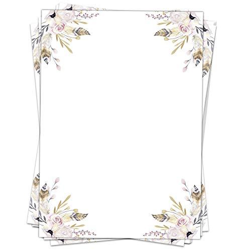 Briefpapier Design-Motiv Federn Pastell Aquarell Look - 50 Blatt, DIN A4 Format, Papier beidseitig bedruckt