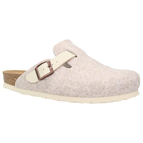 Zweigut® -Hamburg- komood #345 Pantoffeln Hausschuhe Damen Komfort Wollfilz Puschen Clogs Latschen Leder-Komfort-Fußbett, Schuhgröße:42, Farbe:beige