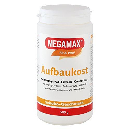 MEGAMAX Aufbaukost Schoko 500g- Ideal zur Kräftigung und bei Untergewicht. Proteinpulver zur Zubereitung eines fettarmen Kohlenhydrat-Eiweiß-Getränkes für Muskelmasse u. Gewichtszunahme
