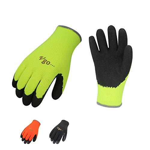 Vgo 3Pares 0℃ o superior 3M Thinsulate C40 Guantes de trabajo y de jardinería 3 pares, guantes invierno revestidos con Látex (9/L,Color Negro,Naranja Fluorescente y Verde Fluorescente,RB6010)