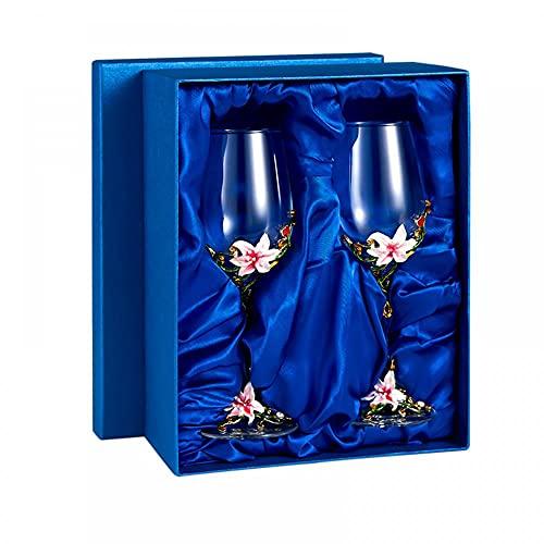 Tazas de vidrio de vino esmaltadas de 320 ml, hechas a mano, para esposa, madre, niña, cumpleaños, día de San Valentín, día de la madre, boda (caja de regalo doble rosa)