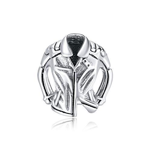 HMMJ Unisex S925 Sterling Silber DIY Handgemachte Kreative Motorradanzug Charms Perlen Kompatibel mit Pandora Troll Chamilia European Armband Halsketten
