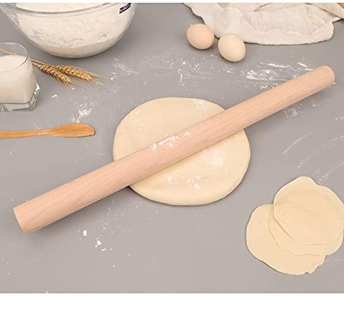 Rodillo de madera de haya, rodillo de amasar perfecto accesorio de horneado para fondant, pizza, masa de pasta, 39 cm de largo