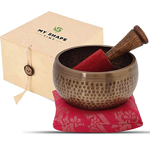 Tibetan Singing Bowl - Buddha Meditation Singing Bowls Set For Beginners Sound Bowl For Yoga, Spiritual Healing and Mindfulness - Handcrafted Gift Box Perfect For Mothers/ Fathers Day Gift (Buddha)