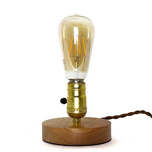 Lámpara de mesa decorativa Edison, diseño industrial, pequeño, diámetro de 12 cm, en oro, vintage, lámpara de mesa de salón