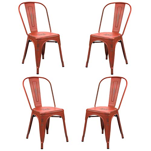 Vaukura Silla Oliix (Pack 4) - Silla Industrial Metálica Vintage (Rojo)
