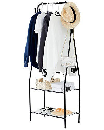 YOUDENOVA Clothing Rack with Shelves Small Clothes Rack with 4 Hooks Small Space Narrow Garment Rack Black
