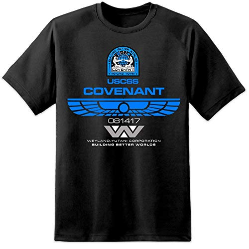 Digital Pharaoh Alien Covenant Crew Hemd - Schwarz Nostromo Prometheus Aliens Xenomorph - Schwarz, L