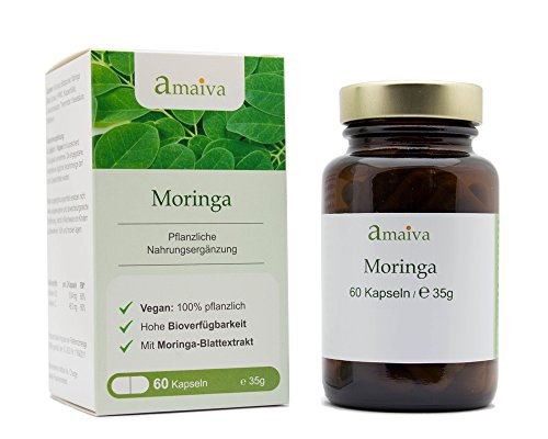 Moringa Kapseln - hochdosiert mit Moringa-Extrakt + Vitamin C (vegan, freiverkäuflich, hergestellt in Deutschland - PZN: 11482539)