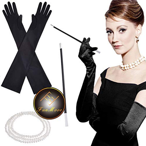 SuperCat Flapper Costume Fancy Dress 1920s Charleston Pearl Beads Collar Titular de Cigarrillos Guantes Largos de satén Negro Accesorios Gatsby Paquete de 3