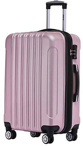 BEIBYE TSA Schloß Zwillingsrollen 2050 Hartschale Trolley Koffer Reisekoffer in M-L-XL-Set in 12 Farben (Rosa, Mittler Koffer (66cm)+TSA Schloß)