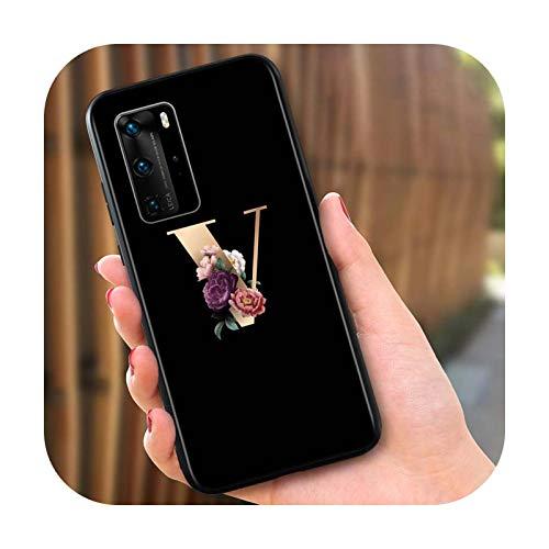 Letra alfabeto flores arte para Huawei P40 P30 P20 Pro P10 P9 P8 Lite E Plus 5G 2019 funda de silicona negro brillante estilo 08-para P20 lite 2019