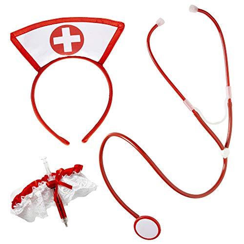Widmann 9864Y – Verkleidungsset, Krankenschwester, Stethoskop, Strumpfband und Haarreifen, Kostümset, Berufe, Motto Party, Karneval