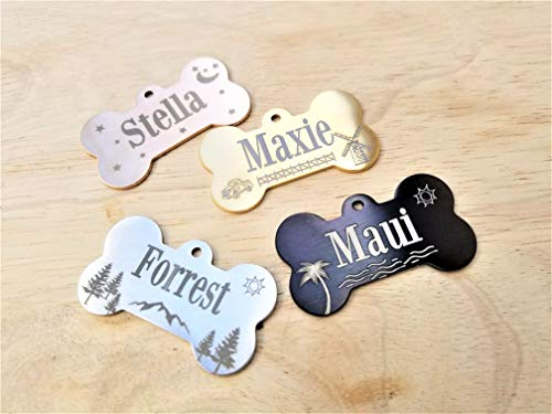 Jinglrr Personalized Dog Tags Cat Tags Pet ID Tags Stainless Steel Extremely Durable Made in USA (Black, Bone - Design)