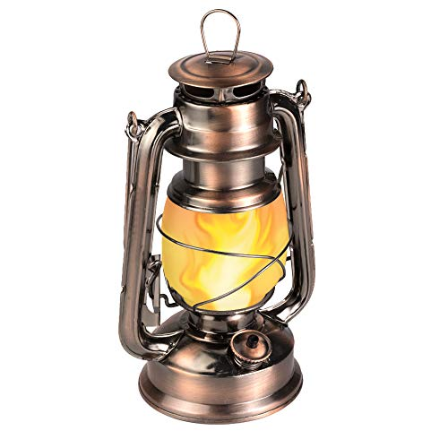 LEDERA Flame Light Vintage Lantern, Antiqued Copper Flickering Lantern, 2 Modes,Full White and Flame Effect with Battery Operated, Decorative Hanging Lanterns
