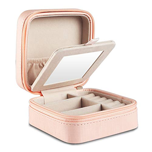 AZBYC Velvet PU leer Sieraden Ring Display Organiser Box Lade Houder Oorbellen opbergdoos (roze)