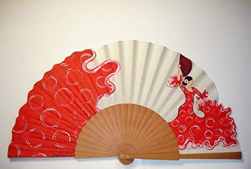 Abanico español/Abanico pintado a mano/Abanico flamenco/Abanico de madera/Abanicos Sevilla'Aires de Sevilla'