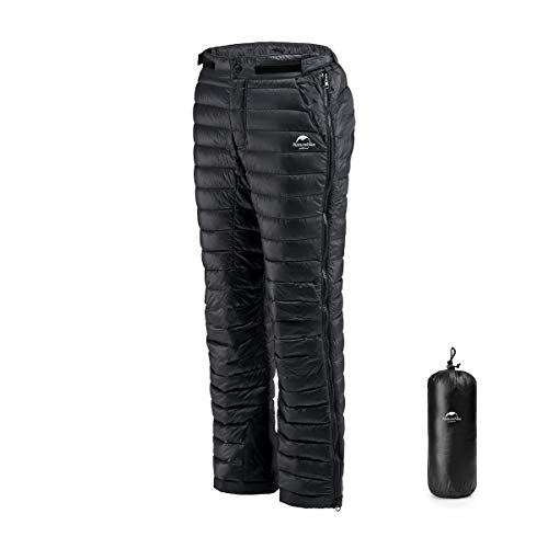 Tofern White Goose Down Pants Ultra Warm Water Repellent Ski Trousers Double Side Zipper Quickly Wearing Outdoor Camping Pants, Black, M