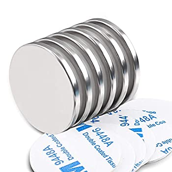 MIKEDE Neodymium Rare Earth Disc Magnets  Strong Permanent Magnets with Double Sided Adhesive Ideal for Fridge DIY Building Scientific Craft etc 1.26 inch D x 1/8 inch H - 6 Packs