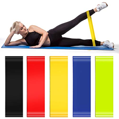 Cinlinso Resistance Loop Bands Exercise Bands Workout Bands with Carry Bags for Physical Therapy, Stretching, Home Fitness, Strength Training, Yoga, Set of 5