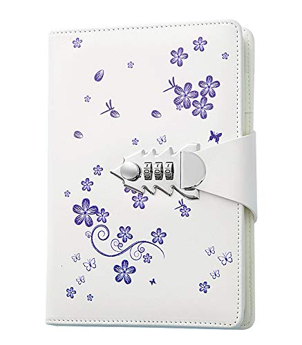 Diary Notebook with Lock, A5 PU Leather Journal with...