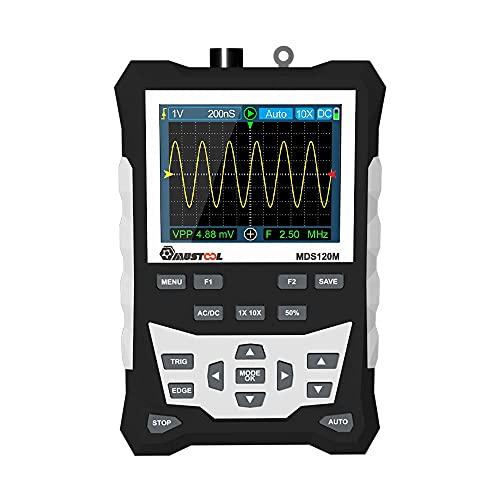 RFElettronica, MUSTOOL MDS120M - Osciloscopio digital profesional portátil, banda 120 MHz 500 MS/s LCD 320 x 240, almacenamiento en forma de onda, con batería 2000 mAh