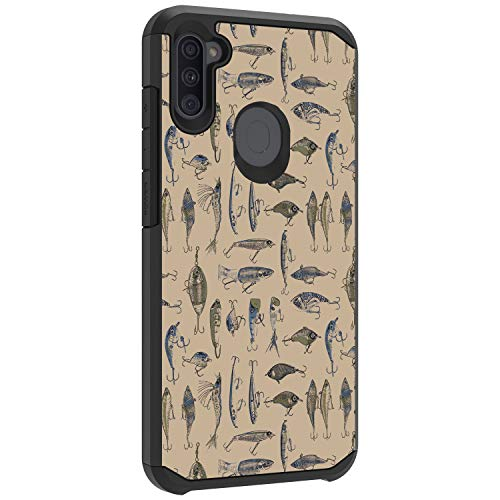 TurtleArmor | Compatible with Samsung Galaxy A11 Case (2020) | A115 | Slim Fitted Cover Armor Hard Dual Layer Hybrid Case Girls - Fishing Hooks