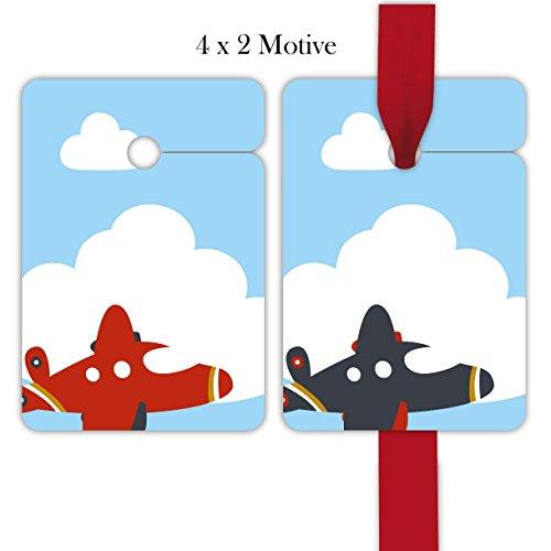 8 gekleurde cadeauhangers voor kinderen, hangers, cadeaukaarten, papieren hangers, hangeretiketten voor verjaardag, met vliegtuig om te beschrijven, voor het versieren van cadeauverpakking, voor het versieren van cadeauverpakking
