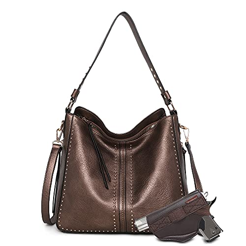 Montana West Tote Bag for Women Large Concealed Carry Purses and Handbags Faux Leather Hobo Bags Shoulder Bag with Crossbody Strap and Gun Holster MWC-G1001BZ