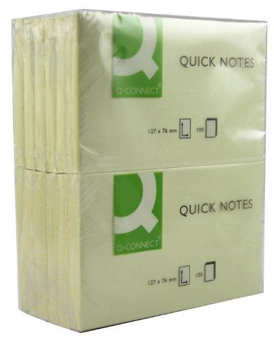Q Connect Quick note adesivi 75X 125mm, colore giallo (Confezione da 12)