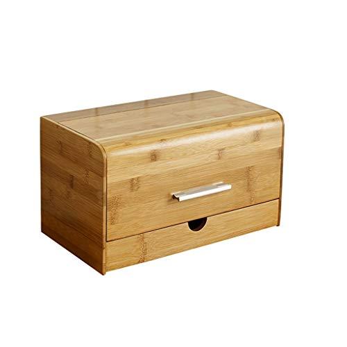 Boîte à pain antipoussière Casse-croûte en bambou Divers Coffres de rangement en bois massif Coffret de rangement créatif avec étagère de cuisine à tiroir (Color : B)