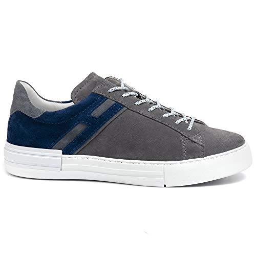 Zapatillas Hogan para hombre Rebel gris y azul de ante – HXM5260CW00 HG0617O – Talla