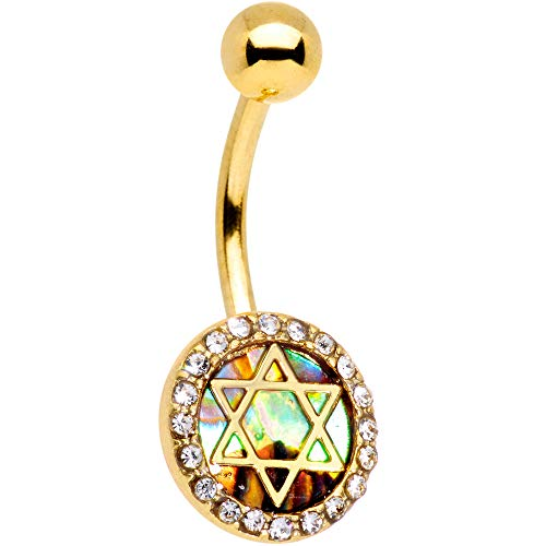 Body Candy Gold Tone Anodized Steel Navel Ring Piercing Clear Accent Star of David Belly Button Ring