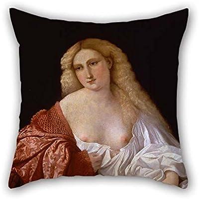 N\A Pintura al óleo Jacopo Negretti Llamado Palma The Elder - Retrato de una Mujer conocida como Retrato de una Funda de Almohada de Courtsesan La Mejor opción para un sofá Tumbona Silla Silla Fest