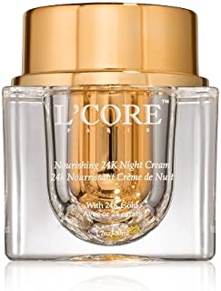 L'Core Paris 24K Gold Nourishing Anti Aging Night Cream - Hydrates Skin with Natural Botanical Extracts, Hyaluronic Acid and Powerful Antioxidants - 1.7oz/50ML